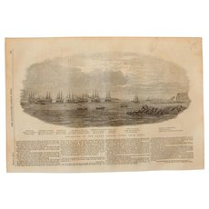 1854 Original Depiction of the Departure Of The Ocean French Fleet From Brest - Antique Steel Engraving