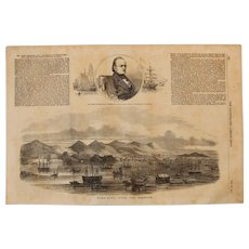 1854 Original Birdseye View of Hong Kong - Antique Steel Engraving