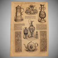 1854 Original Depiction of exhibits of the Museum of Ornamental Art in London - Antique Steel Engraving