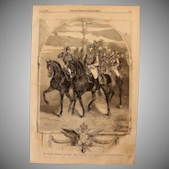 1854 Original Depiction of Nicholas I Emperor of Russia & Grand Duke Alexander with staff  - Antique Steel Engraving