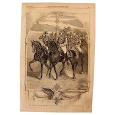 1854 Original Depiction of Nicholas I Emperor of Russia & Grand Duke Alexander with staff  - Antique Steel Engraving