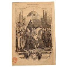 1854 Original Depiction of the Sultan of Turkey proceeding to the Mosque in Constantinople - Antique Steel Engraving