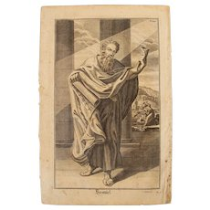 Rare 1701 Copper Engraving of Samuel from the Old Testament by Engelhardt Nunzer