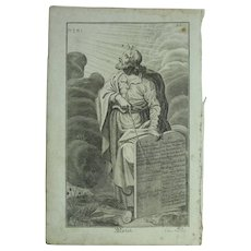 Rare 1701 Copper Engraving of Moses and the Ten Commandments from the Old Testament by Engelhardt Nunzer
