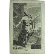 Rare 1701 Copper Engraving of Job from the Old Testament by Engelhardt Nunzer