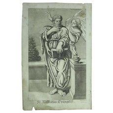 Rare 1701 Copper Engraving of St. Matthew the Evangelist / Apostle by Johann Alexander Boener - Red Tag Sale Item