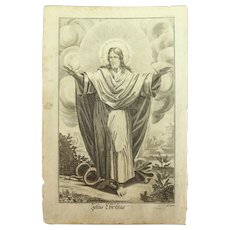 Rare 1701 Copper Engraving of Jesus Christ by Engelhardt Nunzer
