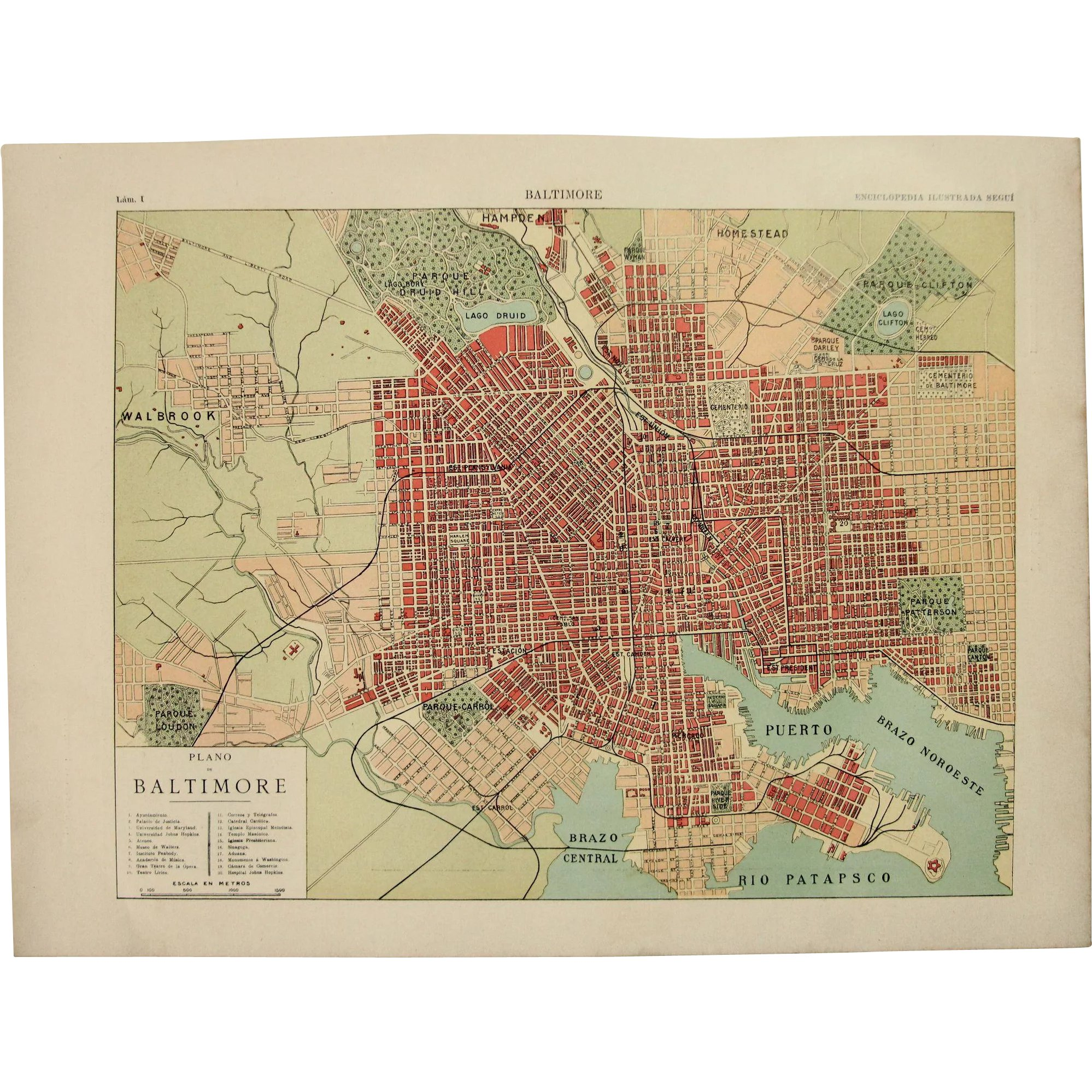 Art nouveau map of baltimore including train lines photos of art nouveau map of baltimore including train lines photos of sights vianova ruby lane gumiabroncs Choice Image