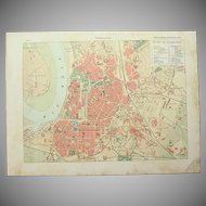 Art Nouveau Map of Düsseldorf including Train lines & Photos of Sights - 1900's Polychrome Lithograph