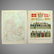 Art Nouveau Map of Denmark with Military Uniforms, Coins and Flag on Reverse - 1900's Polychrome Lithograph