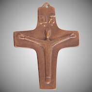 Vintage Bronze Cross from First Communion - German Crucifix 1968
