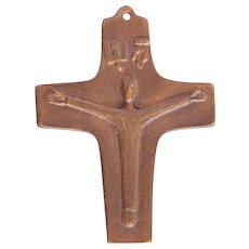 Vintage Bronze Cross from First Communion - German Crucifix 1968