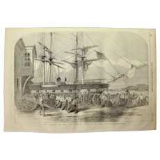 1854 Original Depiction of the Royal Horse Artillery landing in the Bosphorus - Antique Steel Engraving