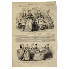 1854 Original Depiction of the Costumes of the Ball at the French Embassy and Paris Fashion - Antique Steel Engraving