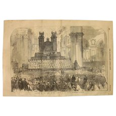1854 Original Depiction of the Festival of the Sons of the Clergy  - Antique Steel Engraving