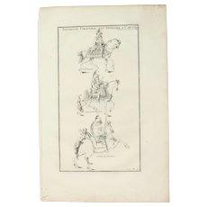 18th Century Copper Engraving of Roman Emperor Theodosius, Gratian and an Officer on horses from L'antiquité expliquée et représentée en figures by Bernard de Montfaucon