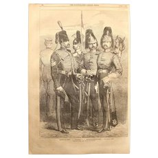 1854 Original Depiction of British Troops of the War-Cavalry Officers of the Crimean War - Antique Steel Engraving