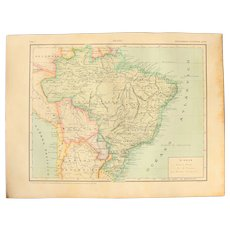 Art Nouveau Map of Brasil with Military Uniforms, Coins and Flag on Reverse - 1900's Polychrome Lithograph