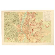 Art Nouveau Map of Budapest including Train lines & Photos of Sights - 1900's Polychrome Lithograph