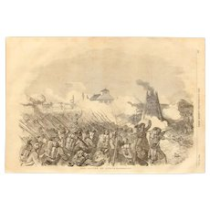 1854 Original Depiction of the Battle of Citate - Antique Steel Engraving