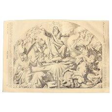 1856 Original Depiction of Last Judgment / Judgment Day - Antique Steel Engraving