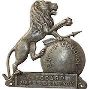 1910's Metal Logo Advertisement of a Peugeot Agency in Lyon France