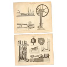 19th Century Set of two Prints of gas combustion engines & compressors - 1870's Technical Steel Engravings