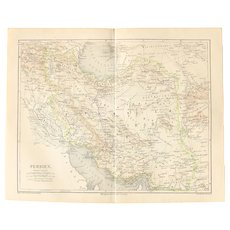 19th Century Map of Persia - 1870's Steel Engraving
