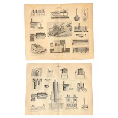 19th Century Set of two Prints of Gold and Silver Recovery machines - 1870's Technical Steel Engraving