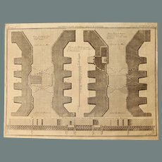 18th Century Copper Engraving of the Locks of Dunkirk Harbour by Bernard Forest de Belidor