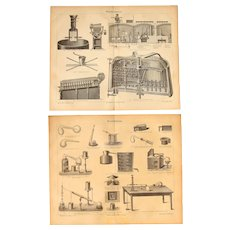 19th Century Set of two Prints of Beer Brewing & Distillation- 1870's Technical Steel Engraving