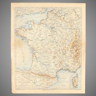 19th Century Map of France including Paris - 1870's Steel Engraving