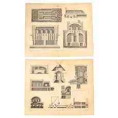 19th Century Set of two Prints about Glass Production- 1870's Technical Steel Engraving