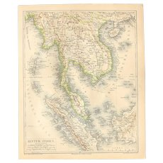 19th Century Map of Southeast Asia (Farther India) including Thailand, Vietnam, and more  - 1870's Steel Engraving