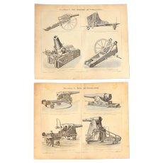 19th Century Set of two Prints of Artillery / Guns / Cannon - 1870's Technical Steel Engraving
