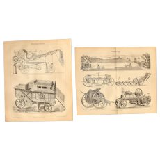 19th Century Set of two Prints of Threshing machines & Steam plows - 1870's - Technical Steel Engraving