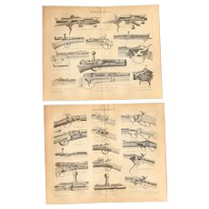 19th Century Set of two Prints of Guns & Rifles - 1870's Technical Steel Engraving
