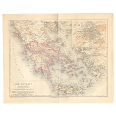 19th Century Map of Greece including Athens and more - 1870's Steel Engraving