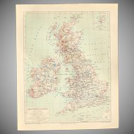 19th Century Map of Great Britain including London and more - 1870's Steel Engraving