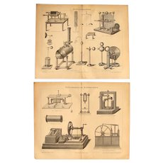 19th Century Set of two Prints about Victorian Electric & Electromagnetic Machines - 1870's Technical Steel Engraving