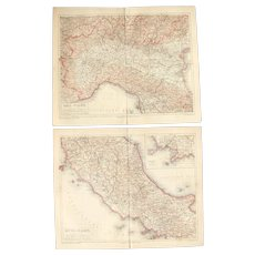 19th Century Set of two Maps of Italy including Rome & Milan - 1870's Steel Engraving