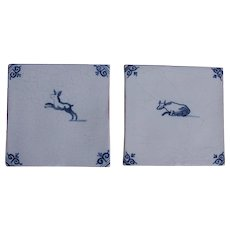 17th century Set of two Dutch Delft  Blue Pottery Tiles with Cow and Bunny
