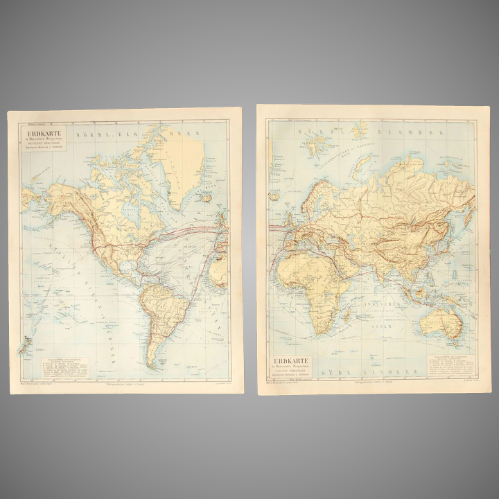 19th Century Set of two Maps of the World Western & Eastern Hemisphere -  1870\'s Steel Engraving