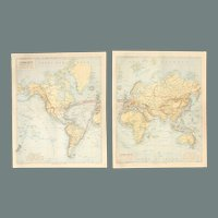 19th Century Set of two Maps of the World Western & Eastern Hemisphere - 1870's Steel Engraving