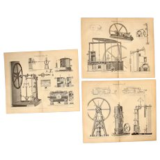 19th Century Set of three Prints about Steam Engines - 1870's Technical Steel Engraving