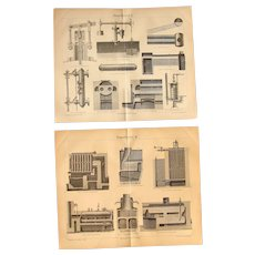 19th Century Set of two Prints about Victorian Steam Boilers and Generators - 1870's Technical Steel Engraving