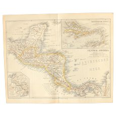 19th Century Map of Central America including the West Indies - 1870's Steel Engraving