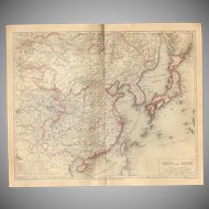 19th Century Map of China & Japan - 1870's Steel Engraving