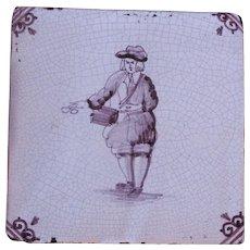 18th Century Delft Tile - Military Drummer - Dutch Purple & White Tile