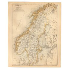 19th Century Map of Sweden & Norway - 1870's Steel Engraving